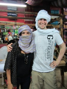 """Lauren of Arabia"" and me wearing a Keffiyeh"