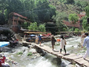 Rickety bridge over Ourika river